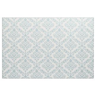Prima Damask Pattern Blue on Cream Fabric
