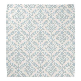 Prima Damask Pattern Blue on Cream Head Kerchiefs