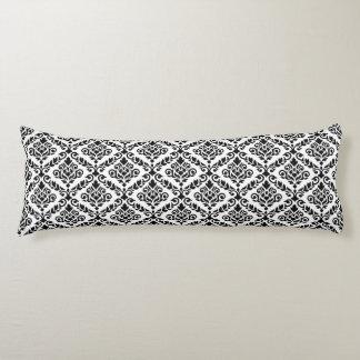 Prima Damask Repeat Ptn Black on White Body Pillow
