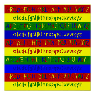 Primary Alphabet Strips-20 x 20 Wall Poster Perfect Poster