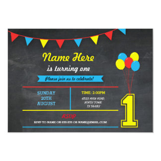 Primary Color Birthday Girls Boys 1st one Invite