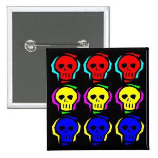 Primary Color Skulls 2 Inch Square Button