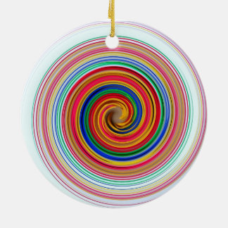 Primary Color Swirls Ceramic Ornament