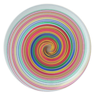 Primary Color Swirls Party Plate