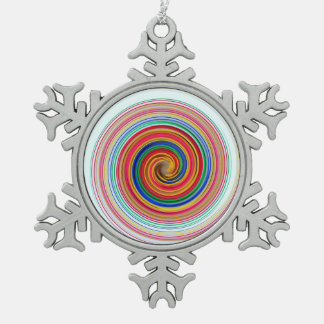 Primary Color Swirls Pewter Snowflake Ornament