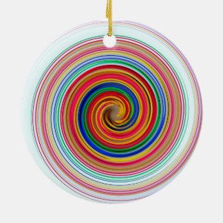 Primary Color Swirls Round Ceramic Ornament
