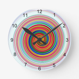 Primary Color Swirls Round Clock