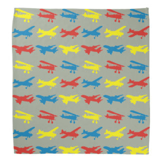 Primary Colors Airplanes Pattern Bandana