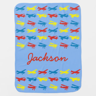 Primary Colors Airplanes Pattern Personalized Swaddle Blanket