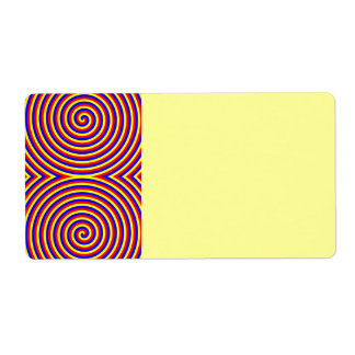 Primary Colors. Bright and Colorful Spirals. Shipping Label