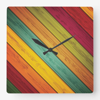 Primary Colors Diagonal Planked Wood Square Wall Clock