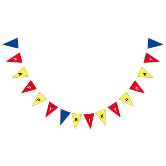 Primary Colors Happy Birthday Party Banner