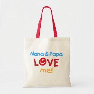 Primary Colors Nana and Papa Love Me Tote Bags