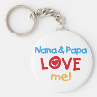 Primary Colors Nana and Papa Love Me Basic Round Button Keychain