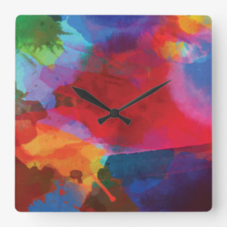 Primary Colors Splashed Paint Square Wall Clock
