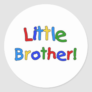 Primary Colors Text Little Brother Classic Round Sticker