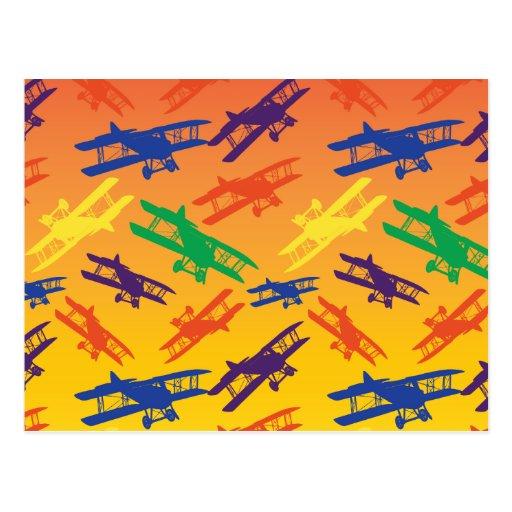 Primary Colors Vintage Biplane Airplane Pattern Post Cards
