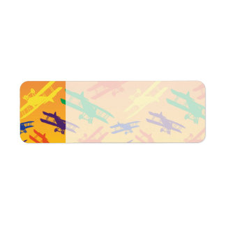 Primary Colors Vintage Biplane Airplane Pattern Return Address Label