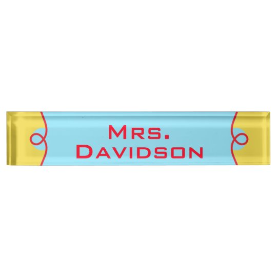 Primary Colours Teacher's Custom Desk Nameplate