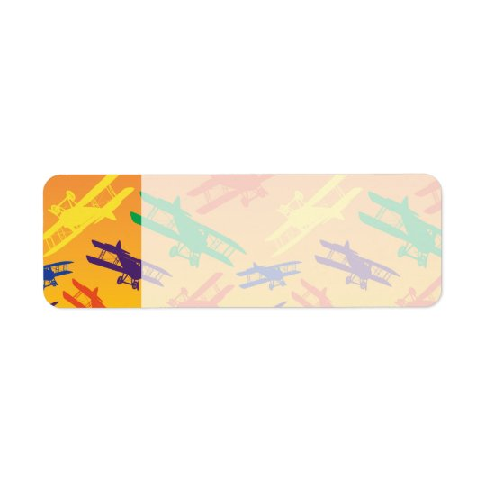 Primary Colours Vintage Biplane Airplane Pattern Return Address Label