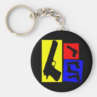 Primary Pistol Motion Basic Round Button Keychain