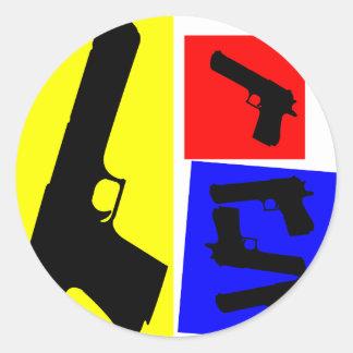 Primary Pistol Motion Round Sticker