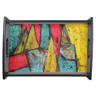Primary Scream Abstract Art Tray Serving Platter