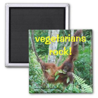 Primate Vegetarians rock! Square Magnet