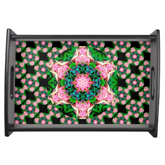 Primeval Paradise (Dreamy Pink) Serving Tray,Black Service Tray