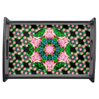 Primeval Paradise (Dreamy Pink) Serving Tray,Black Serving Tray