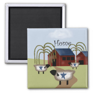Primitive Americana Barn and Sheep Square Magnet