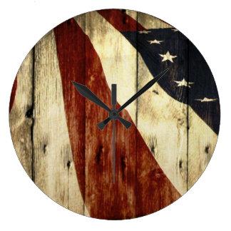 Primitive Americana Barn Wood American Flag Clock