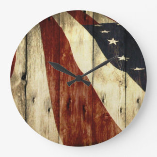 Primitive Americana Barn Wood American Flag Large Clock