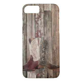 Primitive barn wood country Western Cowboy Boot iPhone 7 Case