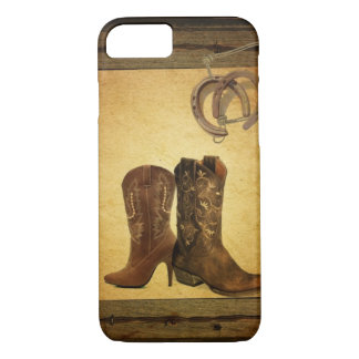 Primitive Barn Wood western country cowboy boots iPhone 8/7 Case