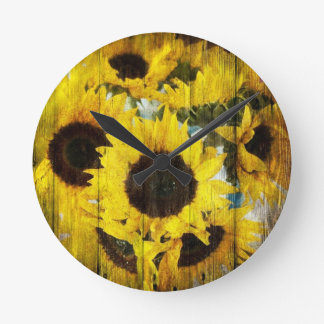 Primitive Barn Wood Western Country Sunflower Round Clock