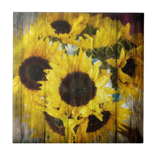 Primitive Barn Wood Western Country Sunflowers Tile