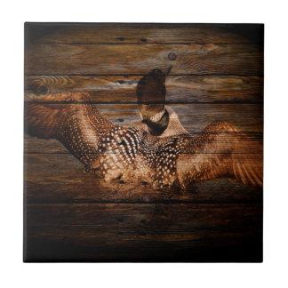 Primitive Barn wood Western Country waterfowl Loon Tile