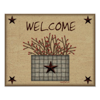 Primitive Basket Welcome Print