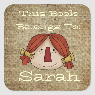 Primitive book plate square sticker