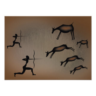 Primitive Cave Art Poster
