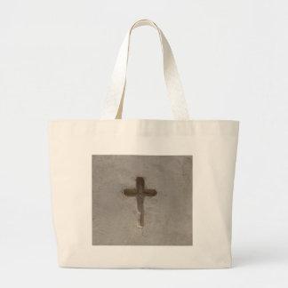 Primitive Christian Cross customize favorite Bible Large Tote Bag