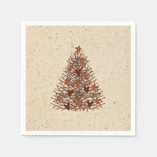 Primitive Christmas Tree Paper Napkins