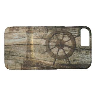 Primitive Coastal Nautical Helm Wheel lighthouse iPhone 8/7 Case