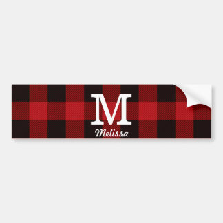 Primitive Cottage Red buffalo Plaid lumberjack Bumper Sticker