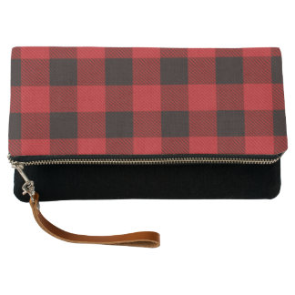 Primitive Cottage Red buffalo Plaid lumberjack Clutch