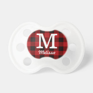 Primitive Cottage Red buffalo Plaid lumberjack Pacifier