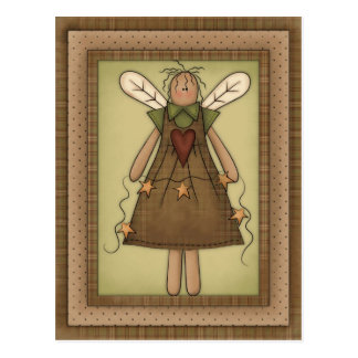 Primitive Country Angel with Prim Stars Postcard