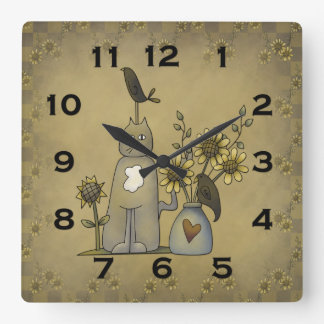 Primitive Country Crows Cat Sunflowers Wall Clock