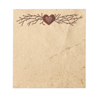 Primitive Country Heart Notepad